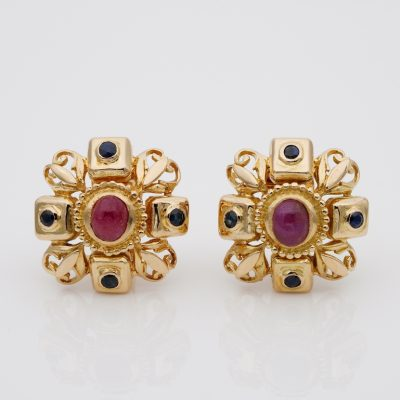 Ilias Lalaounis 2.80 Natural Ruby .80 Ct Sapphire High End Clip on 18 KT Earrings