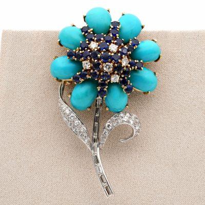 Remarkable Mid Century Persian Turquoise Diamond Sapphire Flower Brooch