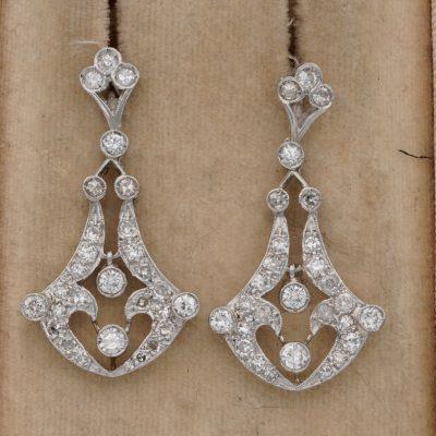 Edwardian 1.40 Ct old Cut Diamond Platinum Drop Earrings