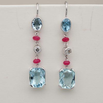 Vintage 3.50 Ct Natural Aquamarine Ruby Diamond Drop Platinum Earrings