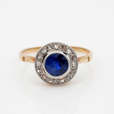 Late Victorian 1.15 Ct Natural Sapphire Rose Cut Diamond Target Ring