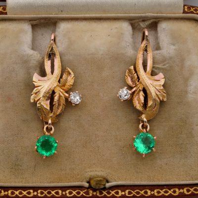 Art Nouveau Leaf Emerald Diamond 18 Kt Drop Earrings
