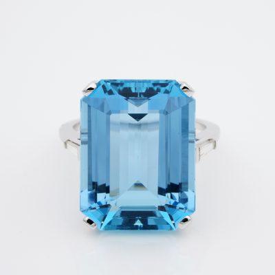 Mid Century Emerald Cut 21.30 Ct Natural Aquamarine Diamond Ring
