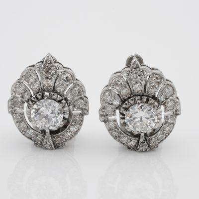 Art Deco 1.70 Ct Diamond TCW Clip on Platinum Earrings