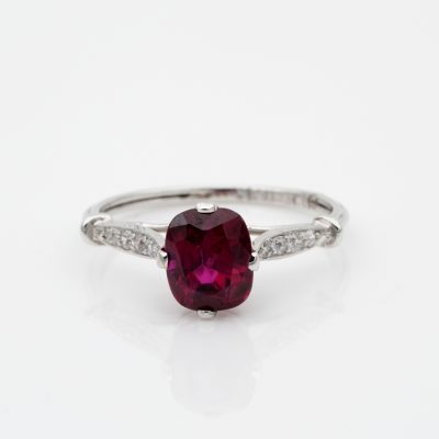 Art Deco 1.80 Ct Natural No Heat Ruby Diamond Platinum Ring