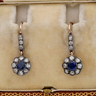 Victorian Cert. 1.0 Ct Burma Sapphire 1.80 Ct Old Mine Diamond Sweet Drop Earrings