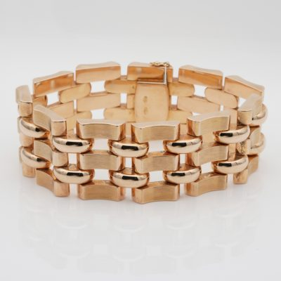 Retro 18 KT Rose Gold Tank Bracelet 1940 ca