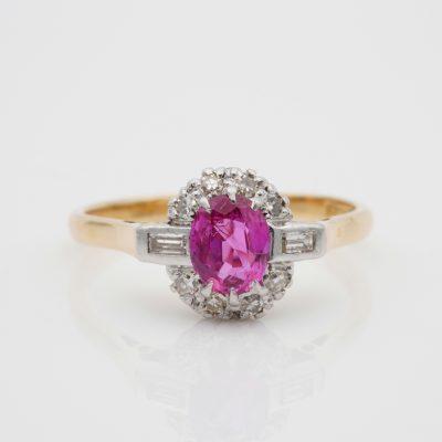 Art Deco Cert. Burma No Heat Pink Sapphire Diamond Plat 18 KT Ring