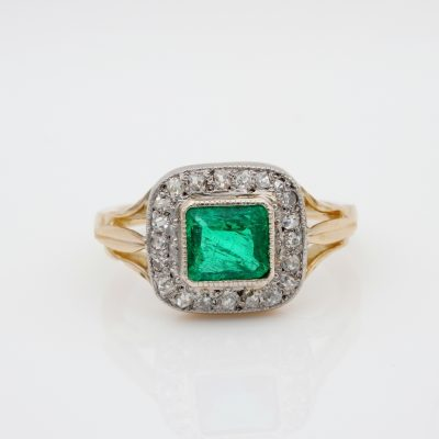 French Art Deco .90 Ct Colombian Emerald .60 Ct Old Diamond Solitaire Ring