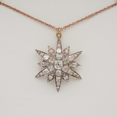 Victorian 4.90 CT Diamond Celestial Star Brooch Pendant
