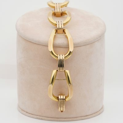 Vintage Grand Chic 18 Kt huge  Stirrups Link Bracelet