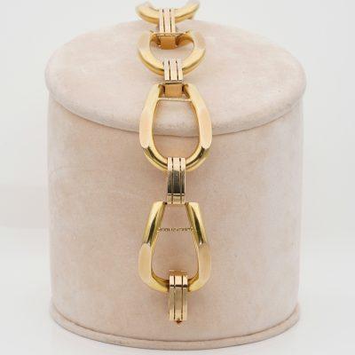Vintage Grand Chic 18 Kt huge  Stirrups Link Bracelet