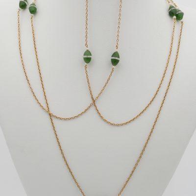 Rare Edwardian Nephrite Jade Rock Crystal Pearl 18 KT Long Sautoir Chain