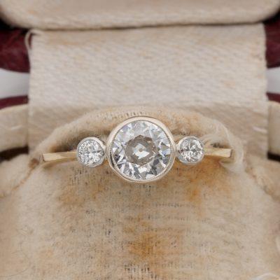 Art Deco .75 Ct Diamond Trilogy Ring Plat/Gold