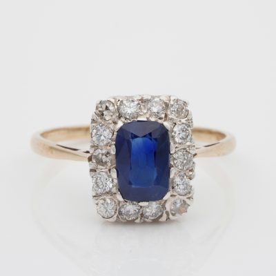 Late Art Deco 1.35 Ct Natural Sapphire .60 Ct Old Cut Diamond Plat/Gold Ring