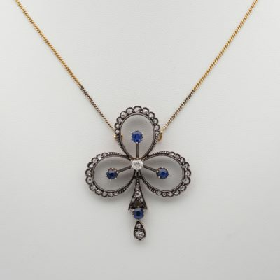 Victorian 1.20 Diamond 1.20 Natural Sapphire Clover Brooch Pendant Necklace