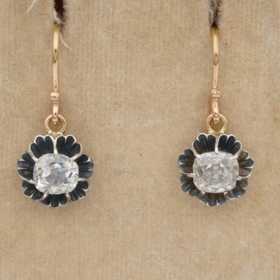 Victorian 1.40 Ct Cushion Diamond Solitaire Drop Earrings