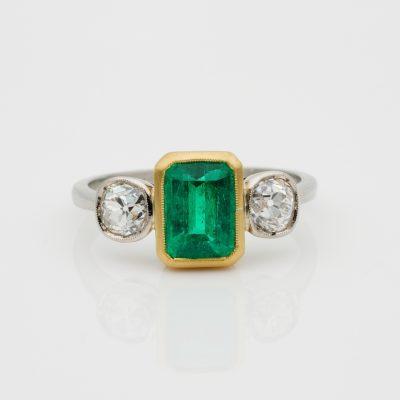 Art Deco 1.55 Ct Colombian Emerald 1.20 Old Mine Diamond Three Stone Ring