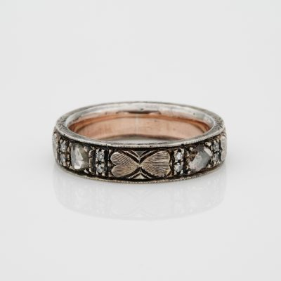 Victorian .90 Ct Diamond Heart Carved 9 Kt Gold Silver Eternity ring