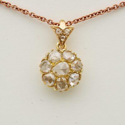 Victorian Rose Cut Diamond Floret Cluster pendant plus chain