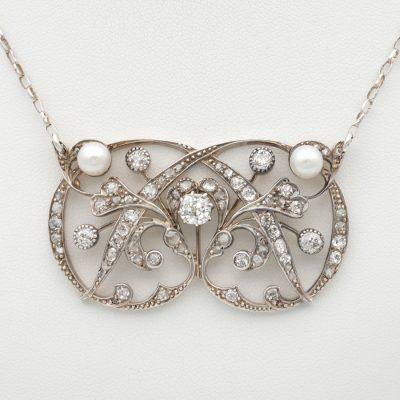 Art Nouveau 3.75 Ct Diamond & Pearl Lavaliere necklace