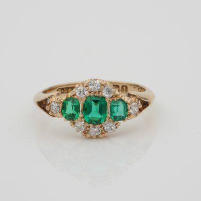 Beautiful Edwardian English Colombian Emerald Diamond Ring