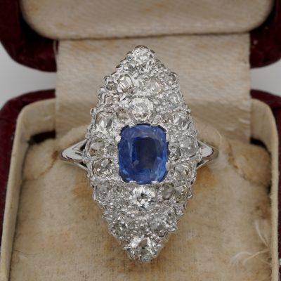 French Art Deco 1.70 Ct Natural No Heat Sapphire 2.20 Ct Old Cut Diamond Platinum Ring