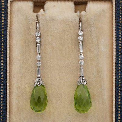 Art Deco 10.00 Ct Natural Peridot Diamond Platinum Drop Earrings