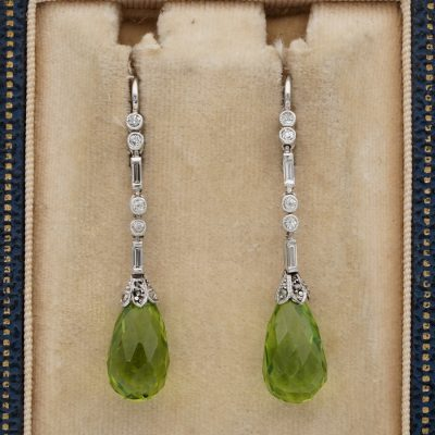 Authentic Art Deco 10.00 Ct Natural Peridot Diamond Platinum Drop Earrings