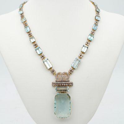 Vintage 48.83 Ct Aquamarine 4.25 Ct Diamond Rare 18 Kt /Plat Necklace