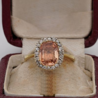 Georgian 2.10 Ct Imperial Topaz. 60 Ct Old Mine Diamond 18 Kt Rare Solitaire Ring