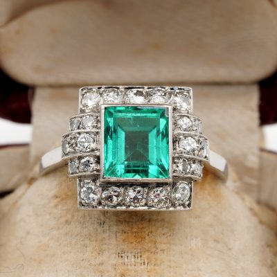 Art Deco 2.05 Ct Colombian Emerald .60 Ct Diamond Platinum Ring