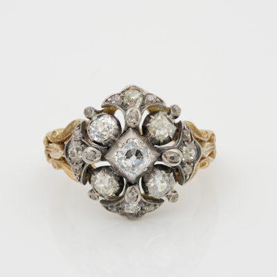 Georgian 2.0 Ct Diamond Rare Cluster Ring 18KT