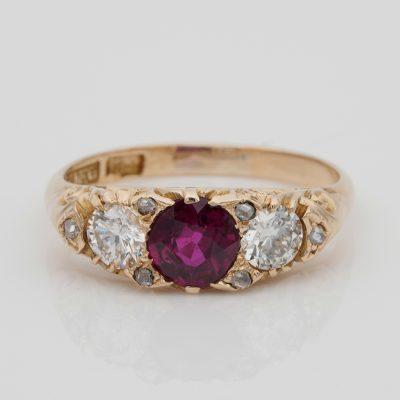 Victorian 1.20 Ct Natural No Heat Ruby Diamond Rare Trilogy Ring