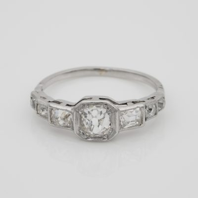 Art Deco 2.10 Ct Old Mine Diamond Seven Stone Platinum Ring