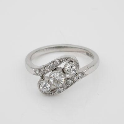Art Deco Three Stone Twisted Ring 1.25 Ct Diamond Plat/Gold