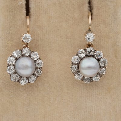 Victorian 2.20 Ct Old Mine Diamond 6.3 mm Natural Pearl Cluster Drop Earrings