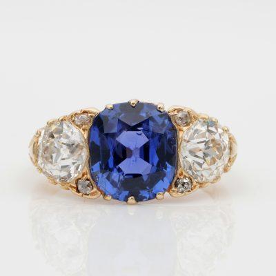 Rare Edwardian 3.48 Ct NO Heat Ceylon Sapphire 2.25 Ct Diamond Plus Trilogy Ring