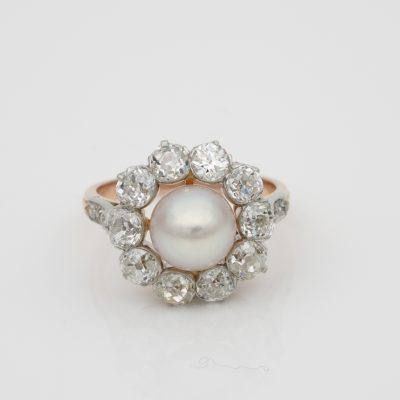 French Belle Epoque Natural Salt Water Pearl 2.60 Ct G VVS Diamond Cluster Ring