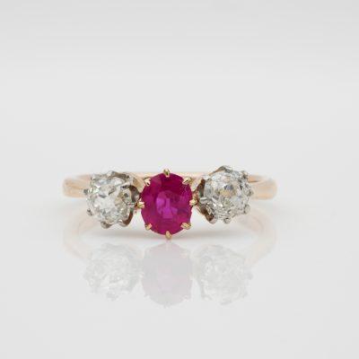 Victorian .80 Ct Burmese Ruby 1.20 Ct Old Mine Diamond Trilogy ring
