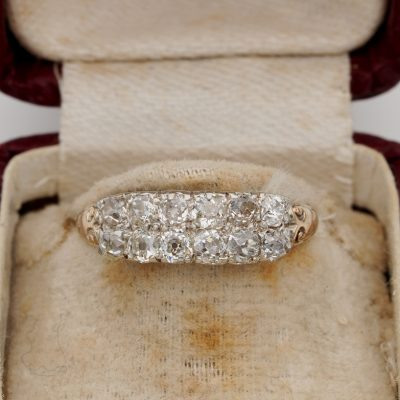 Victorian 1.50 Ct Old mine Diamond Double Row 18 Kt Silver Rare Ring
