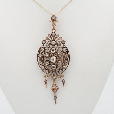 Victorian Large Scale 8.0 Ct Rose Cut Diamond Brooch Pendant Stomacher