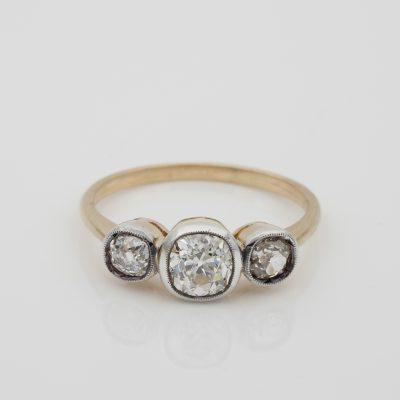 Art Deco 1.30 Ct Old Mine Diamond Trilogy 18 KT Ring