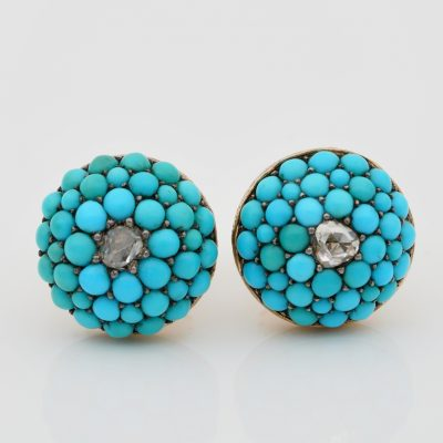 Victorian Turquoise Rose Cut Diamond Rare Stud Earrings 18 KT Gold