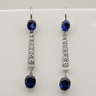 Vintage 2.0 Ct Natural Sapphire .50 Ct Diamond Long Drop Earrings