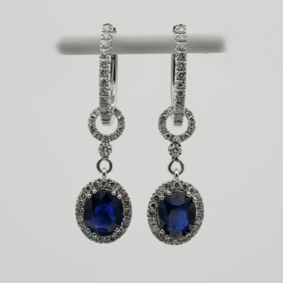 Certified 3.98 Ct. Burma No Heat Blue Sapphire 1.40 Ct Diamond Night & Day Earrings