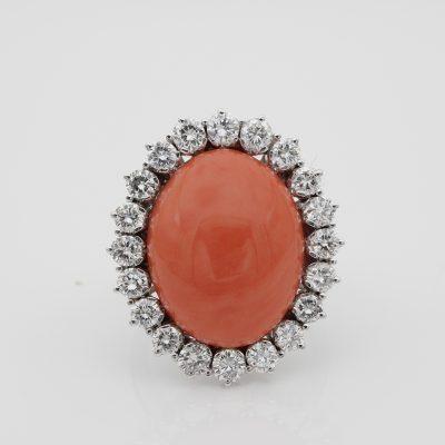 Vintage 16 Ct. Natural Salmon Coral 3.0 Ct Diamond F VVS Impressive Ring