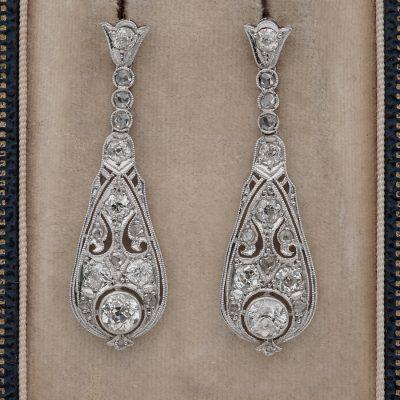 Belle Epoque 3.60 Ct Old Cut Diamond Platinum Drop earrings