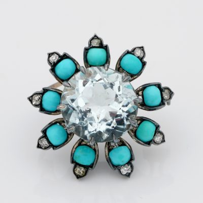 Distinctive Victorian 14.00 Ct Aquamarine Turquoise Diamond Flower Brooch