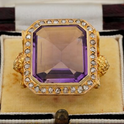 Rare Antique Imposing Amethyst Diamond  Angel Bishop Ring 1890 ca